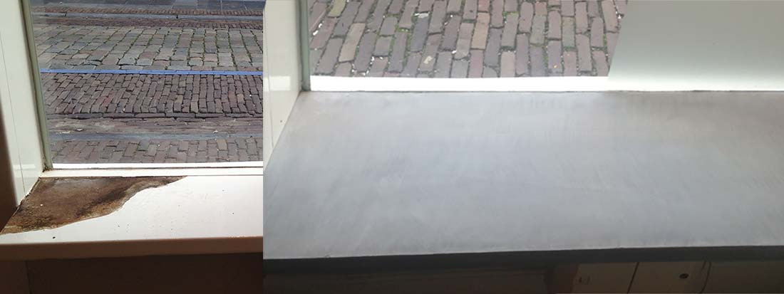 Cofurn betonlook restauratie van vensterbanken Stukadoor P Willems Grave